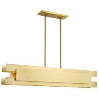 Livex 40695-12 Varick 5 Light 46 inch Satin Brass Linear Chandelier Ceiling Light