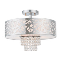 Livex 40763-05 Allendale 3 Light 15 inch Polished Chrome Semi Flush Mount Ceiling Light