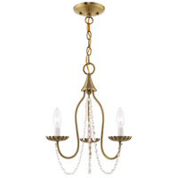 Livex 40793-01 Alessia 3 Light 13 inch Antique Brass Mini Chandelier Ceiling Light