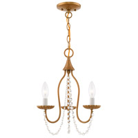 Livex 40793-48 Alessia 3 Light 13 inch Antique Gold Leaf Mini Chandelier Ceiling Light