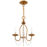 Livex 40793-48 Alessia 3 Light 13 inch Antique Gold Leaf Mini Chandelier Ceiling Light alternative photo thumbnail