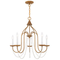 Livex 40795-48 Alessia 5 Light 24 inch Antique Gold Leaf Chandelier Ceiling Light