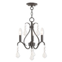 Livex 40843-92 Caterina 3 Light 13 inch English Bronze Mini Chandelier Ceiling Light