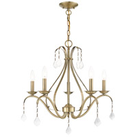 Livex 40845-01 Caterina 5 Light 24 inch Antique Brass with Clear Crystals Chandelier Ceiling Light