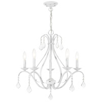 Livex Lighting 40845-60 Caterina 5 Light 24 inch Antique White with Clear Crystals Chandelier Ceiling Light