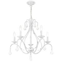 Livex 40845-60 Caterina 5 Light 24 inch Antique White with Clear Crystals Chandelier Ceiling Light alternative photo thumbnail