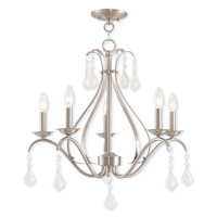 Livex Lighting 40845-91 Caterina 5 Light 24 inch Brushed Nickel Chandelier Ceiling Light