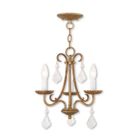Daphne 3 Light 14 inch Antique Gold Leaf Mini Chandelier Ceiling Light