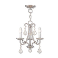 Livex 40873-91 Daphne 3 Light 14 inch Brushed Nickel Mini Chandelier Ceiling Light