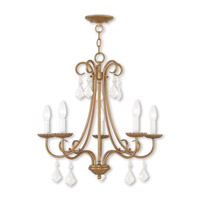 Livex 40875-48 Daphne 5 Light 25 inch Antique Gold Leaf Chandelier Ceiling Light