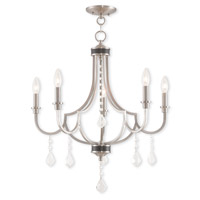 Livex 40885-91 Glendale 5 Light 25 inch Brushed Nickel Chandelier Ceiling Light
