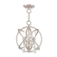Aria 3 Light 12 inch Brushed Nickel Mini Chandelier Ceiling Light