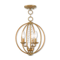 Livex 40913-48 Arabella 3 Light 12 inch Antique Gold Leaf Mini Chandelier Ceiling Light