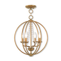 Livex 40914-48 Arabella 4 Light 15 inch Antique Gold Leaf Mini Chandelier Ceiling Light