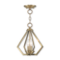 Prism 2 Light 11 inch Antique Brass Mini Chandelier Ceiling Light