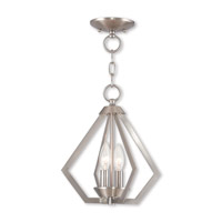 Livex 40922-91 Prism 2 Light 11 inch Brushed Nickel Mini Chandelier Ceiling Light
