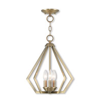 Livex 40923-01 Prism 3 Light 14 inch Antique Brass Mini Chandelier Ceiling Light