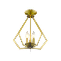 Livex 40923-01 Prism 3 Light 14 inch Antique Brass Mini Chandelier Ceiling Light alternative photo thumbnail