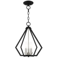 Livex 40923-04 Prism 3 Light 14 inch Black with Brushed Nickel Cluster Convertible Semi Flush/Pendant Ceiling Light