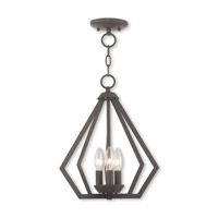 Livex 40923-07 Prism 3 Light 14 inch Bronze Mini Chandelier Ceiling Light