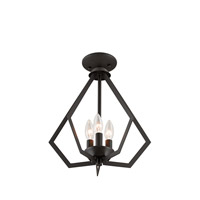 Livex 40923-07 Prism 3 Light 14 inch Bronze Mini Chandelier Ceiling Light alternative photo thumbnail