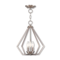 Livex 40923-91 Prism 3 Light 14 inch Brushed Nickel Mini Chandelier Ceiling Light