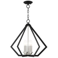 Livex Lighting 40925-04 Prism 5 Light 20 inch Black with Brushed Nickel Cluster Chandelier Ceiling Light