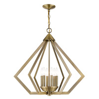 Livex 40926-01 Prism 6 Light 26 inch Antique Brass Chandelier Ceiling Light