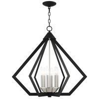 Livex 40926-04 Prism 6 Light 26 inch Black with Brushed Nickel Cluster Chandelier Ceiling Light