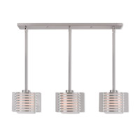Livex 41033-91 Hilliard 3 Light 37 inch Brushed Nickel Linear Chandelier Ceiling Light