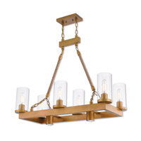 Metuchen 8 Light 34 inch Aged Gold Linear Chandelier Ceiling Light