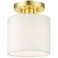 Livex Lighting 41094-12 Meridian 1 Light 7 inch Satin Brass Semi Flush Ceiling Light