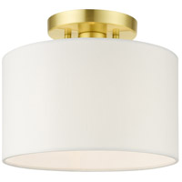Livex 41095-12 Meridian 1 Light 10 inch Satin Brass Semi Flush Ceiling Light