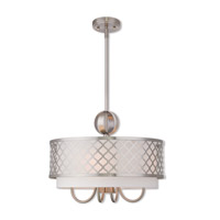 Livex 41104-91 Arabesque 5 Light 18 inch Brushed Nickel Pendant Chandelier Ceiling Light