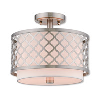 Livex 41107-91 Arabesque 2 Light 12 inch Brushed Nickel Ceiling Mount Ceiling Light