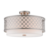 Livex 41109-91 Arabesque 3 Light 18 inch Brushed Nickel Ceiling Mount Ceiling Light