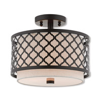 Arabesque 2 Light 12 inch English Bronze Semi Flush Mount Ceiling Light