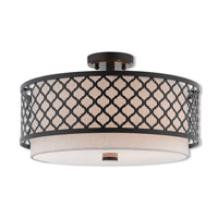 Arabesque 3 Light 18 inch English Bronze Semi Flush Mount Ceiling Light