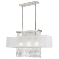 Livex 41123-91 Bella Vista 3 Light 30 inch Brushed Nickel Linear Chandelier Ceiling Light
