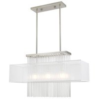 Livex 41143-91 Alexis 3 Light 30 inch Brushed Nickel Linear Chandelier Ceiling Light