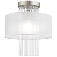 Livex 41144-91 Alexis 1 Light 11 inch Brushed Nickel Flush Mount Ceiling Light