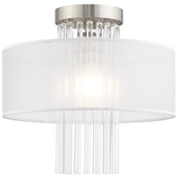 Livex 41145-91 Alexis 1 Light 13 inch Brushed Nickel Flush Mount Ceiling Light