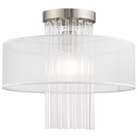 Livex 41146-91 Alexis 1 Light 15 inch Brushed Nickel Flush Mount Ceiling Light