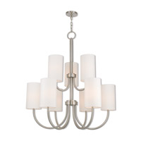 Livex 41168-91 Haddonfield 9 Light 43 inch Brushed Nickel Foyer Chandelier Ceiling Light