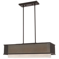 Livex 41204-07 Braddock 3 Light 30 inch Bronze Linear Chandelier Ceiling Light