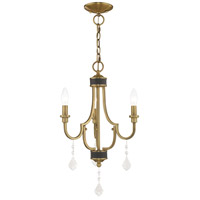 Livex 41273-01 Glendale 3 Light 14 inch Antique Brass Mini Chandelier Ceiling Light