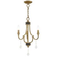 Livex 41273-01 Glendale 3 Light 14 inch Antique Brass Mini Chandelier Ceiling Light
