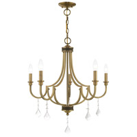 Livex 41275-01 Glendale 5 Light 25 inch Antique Brass Chandelier Ceiling Light