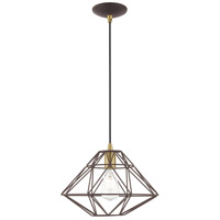 Livex 41323-07 Signature 1 Light 14 inch Bronze Mini Pendant Ceiling Light