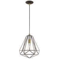 Livex 41324-07 Signature 1 Light 12 inch Bronze Mini Pendant Ceiling Light